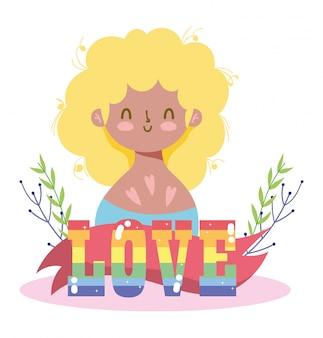 Mädchenkarikatur mit lgtbi liebestext und verlässt design