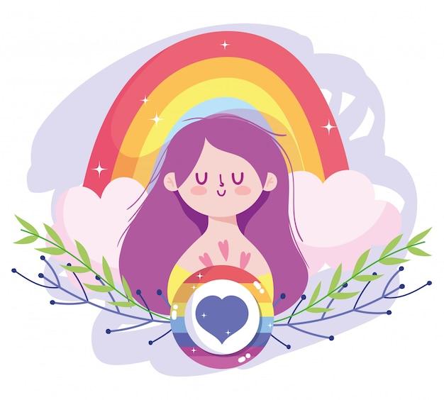 Mädchenkarikatur mit lgtbi regenbogen- und herzsiegelstempelentwurf