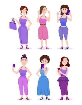 Mädchenkarikaturartcharakter in verschiedenen posen mit handys in händen.