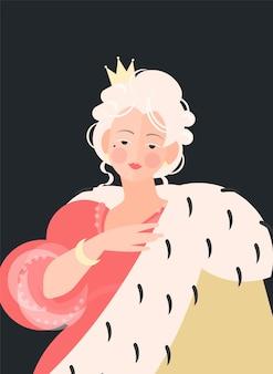 Mädchenkönigin mit einer krone in einem kleid mit einem königlichen umhang. edles porträt des 18.-19. jahrhunderts. bunte illustration im flachen karikaturstil.