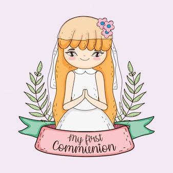 Mädchenkommunion mit niederlassungsblättern und -band