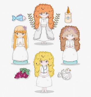 Mädchenkommunion mit trauben und kerze mit taube