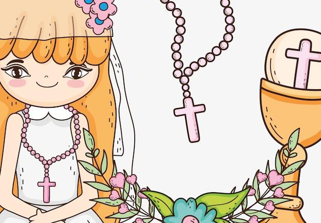 Mädchenkommunion mit wirtsoblate und -kelch