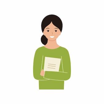 Mädchenlehrerin in einer grünen jacke, die ein notizbuch hält. ein junger lehrer mit einem schönen lächeln. vektorcharakter eines studenten.
