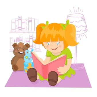 Mädchenlesebuch zuhause mit spielwarenvektorillustration