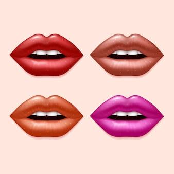 Mädchenlippen mit varicolored lippenstiftsatz. sexy lippenschönheit, illustration von menschlichen lippen