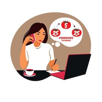 Mädchenmanager, der mit computer unter verwendung des zeitmanagements arbeitet