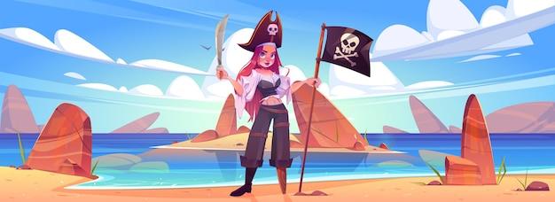 Mädchenpirat am strand mit lustiger rogerflagge und schwert