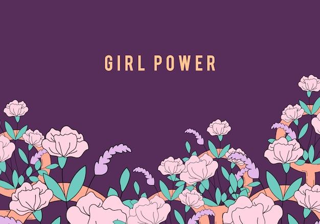 Mädchenpower auf blumenhintergrundvektor
