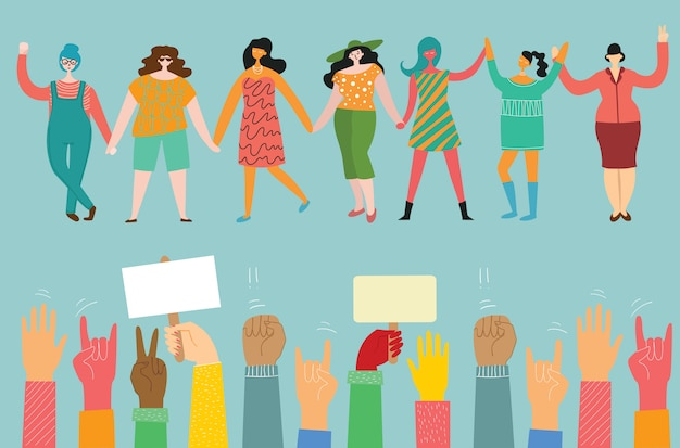 Mädchenpower. feminines konzept und frauenermächtigungsdesign für banner. gruppe junger modefrauenaktivistinnen, die zusammen stehen und hände halten