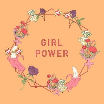 Mädchenpowerblumen-rahmenvektor