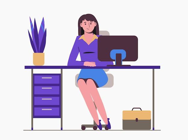 Mädchensekretärin sitzt am tisch. büroangestellter