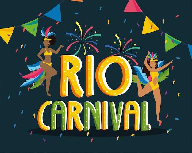 Mädchentänzer mit kostüm und feuerwerk zum rio-karneval
