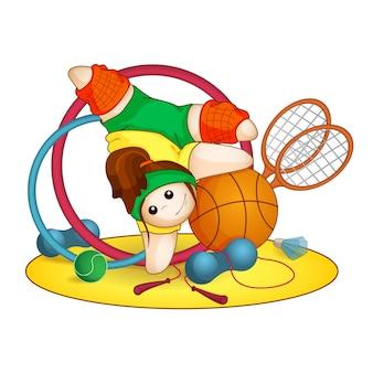 Mädchenturner steht auf seinen händen. sportausrüstung.