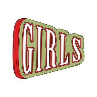 Mädchentypographie auf grünem vektor