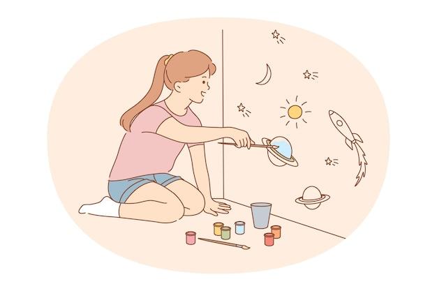 Mädchenzeichentrickfigur, die auf boden sitzt und auf wänden zeichnet