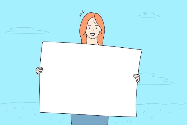 Mädchenzeichentrickfigur, die banner in händen hält