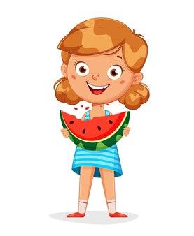 Mädchenzeichentrickfigur, die wassermelone isst, die auf weiß lokalisiert wird