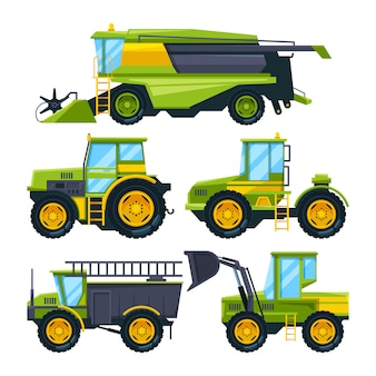 Mähdrescher und verschiedene andere landwirtschaftliche maschinen