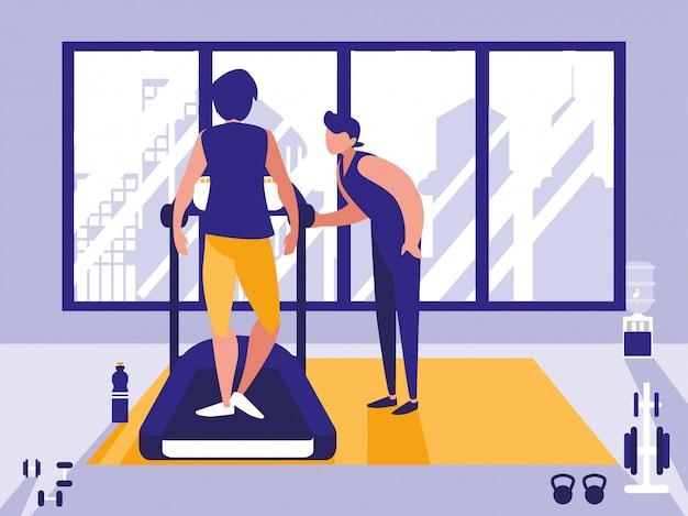 Männer auf dem laufband im fitnessstudio