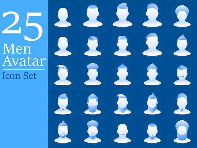 Männer-avatar-ikone stellte mit flacher steigungsart für social media ein