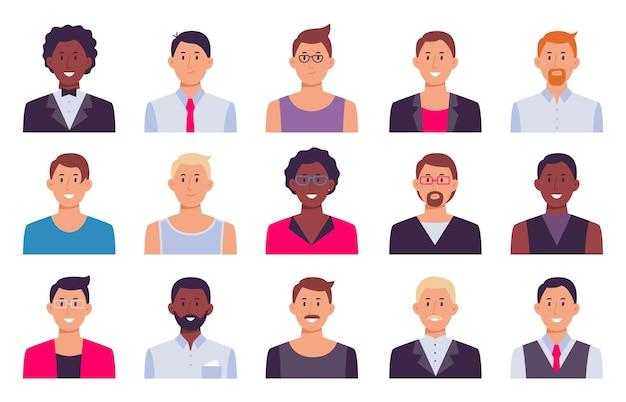 Männer avatare. männliche eingestellte person, sammlungskerlcharakter für soziales profil, illustrationsgeschäftsmann-studentengesicht, büromaterialvektor