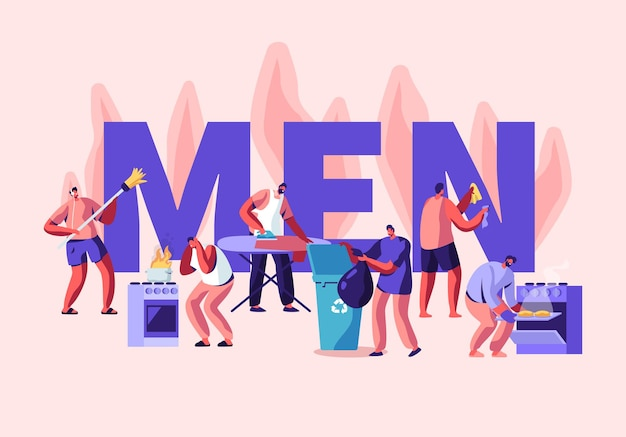 Männer bei haushaltsaktivitäten konzept. boden kehren, haus putzen, bügeln, müll werfen, kochen.