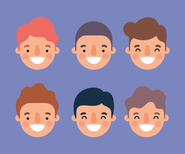 Männer cartoons lächelnde köpfe