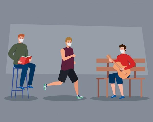 Männer, die aktivitäten im freien mit medizinischer maske ausführen, gitarre spielen, buch lesen und mit medizinischer maske laufen