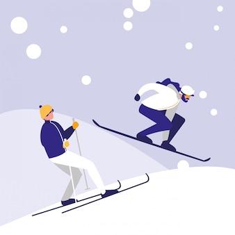 Männer, die das skifahren auf eisavataracharakter üben