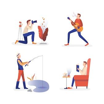 Männer, die freizeitaktivitätssammlung genießen