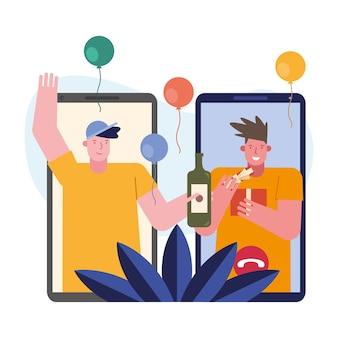 Männer, die geschenke in smartphone-zeichenszene-vektorillustrationsdesign öffnen
