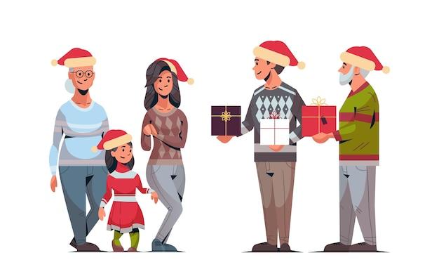 Männer, die geschenkgeschenkboxen zur mehrgenerationenfamilie der frauen in den weihnachtsmützen geben, die frohe weihnachten frohes neues jahr winterferien-konzeptillustration feiern
