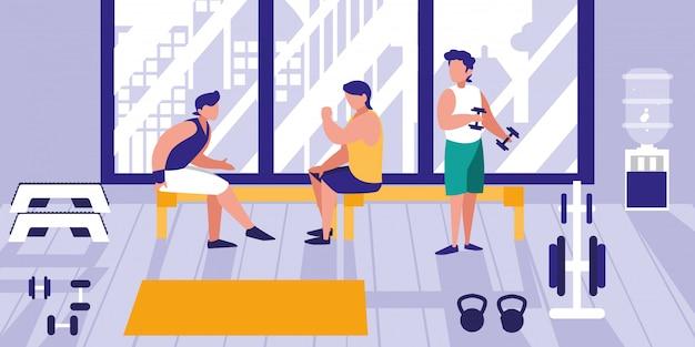 Männer, die gewichte in der turnhalle anheben