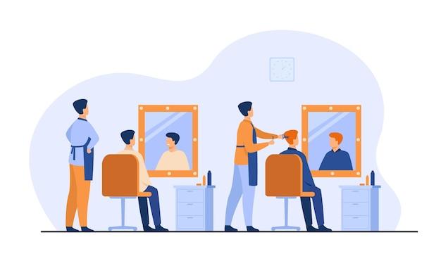 Männer, die im friseursalon lokalisierte flache vektorillustration sitzen. karikaturfriseure, die haarschnitt für männliche klienten im stuhl tun.