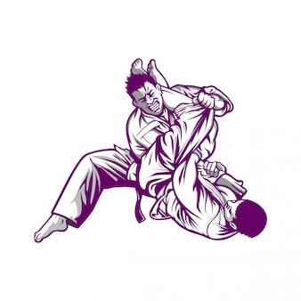 Männer, die im karate konkurrieren