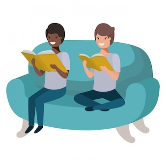 Männer, die im sofa mit buchavataracharakter sitzen