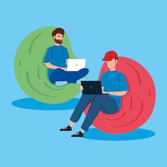 Männer, die in der telearbeit arbeiten, die in der hockerillustration sitzt