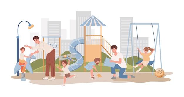 Männer, die mit kindern im freien an der flachen illustration des spielplatzes gehen