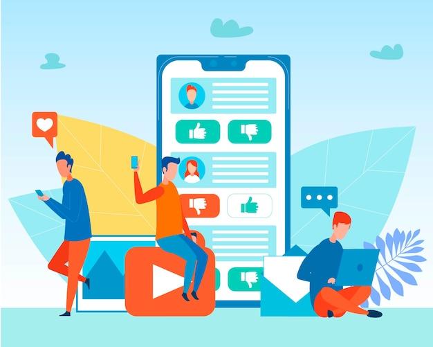 Männer, die smartphone und laptop für die vernetzung verwenden