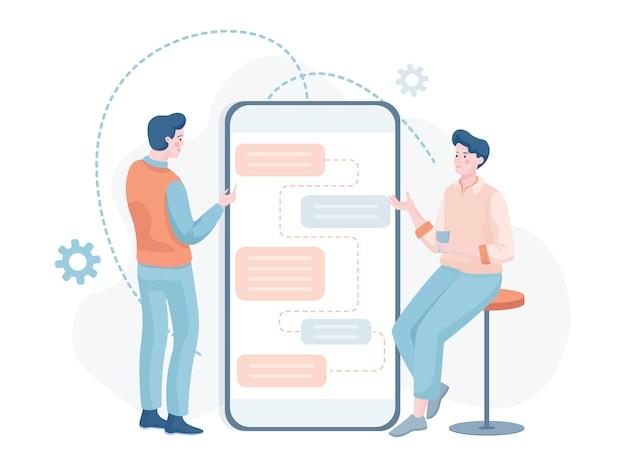 Männer, die über die entwicklung mobiler apps diskutieren. it-spezialisten, die anwendungen und websites erstellen.