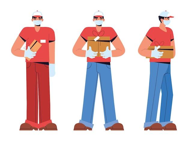Männer halten lieferpakete box