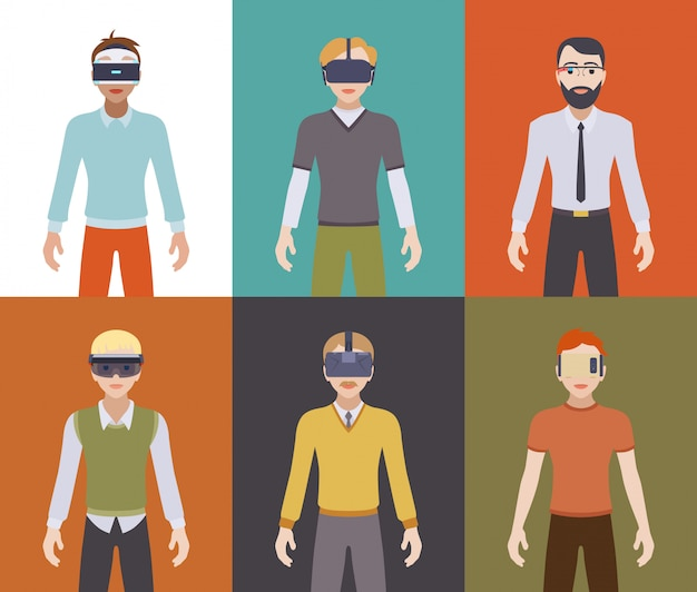 Männer in den headsets der virtuellen realität