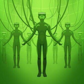 Männer in den kopfhörern der virtuellen realität