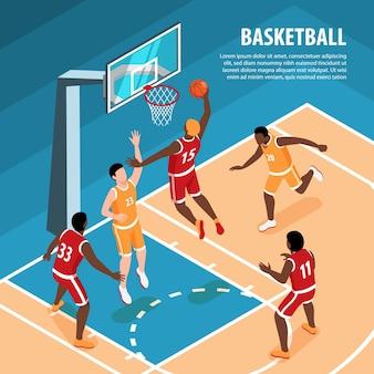 Männer in sportuniform spielen basketball isometrisch