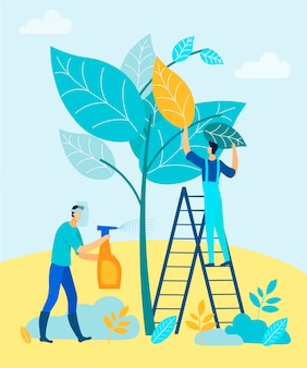 Männer kultivieren bäume mit chemikalien.