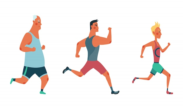 Männer laufen marathonrennen. gruppe von menschen in sportkleidung gekleidet. teilnehmer des leichtathletik-events versuchen, sich gegenseitig zu überholen