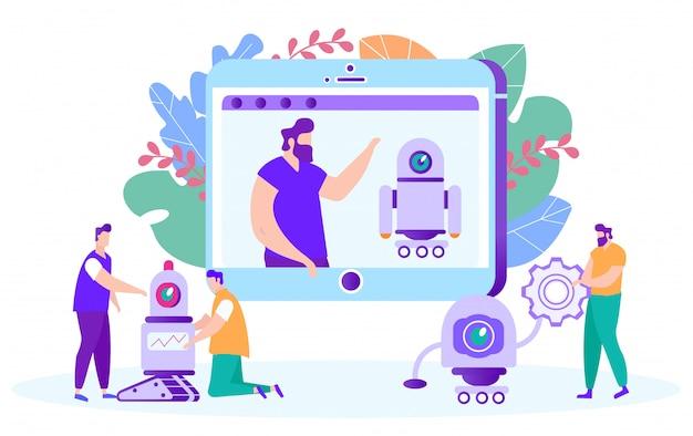 Männer lernen, mit robotern zu arbeiten