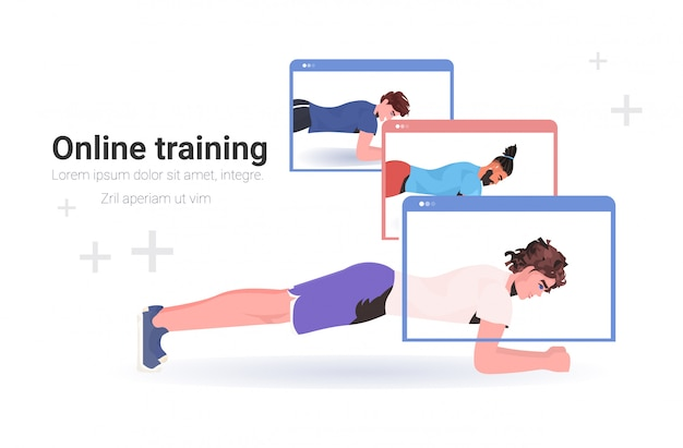 Männer machen fitness-übungen online-training gesunden lebensstil workout-konzept sportler in webbrowser windows horizontale kopie raum illustration