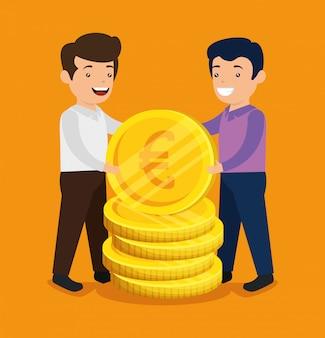 Männer mit bitcoin und euro-münzen zum tauschen